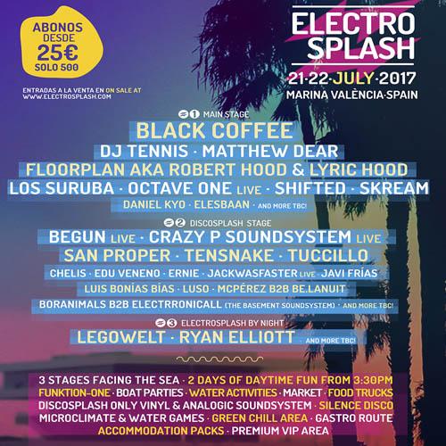TERCERA TANDA DE ARTISTAS DEL ELECTROSPLASH 2017