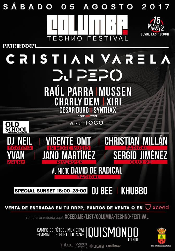 VICENTE ONE MORE TIME, CRISTIAN VARELA, DJ PEPO Y DJ NEIL ESTARÁN EL 5 DE AGOSTO EN COLUMBA TECHNO FESTIVAL