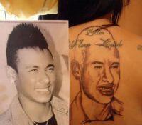Una mujer se tatúa la cara de Neymar y el resultado es muy dudoso