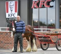 "Un hombre a caballo abandona ""humillado"" KFC tras no ser atendido por decisión del gerente"