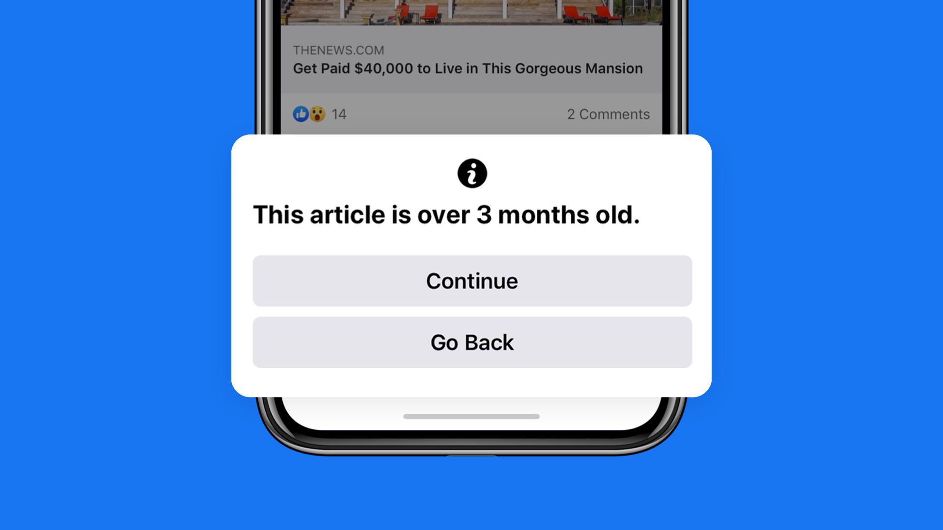 Facebook te advertirá de la antigüedad de un artículo antes de compartirlo