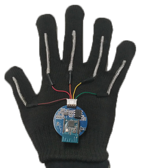 The system includes gloves with thin, stretchable sensors that run the length of each of the five fingers.